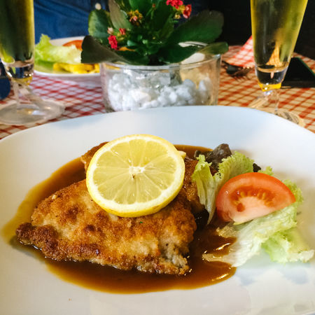 Traditional meal, Obernai, Alsace, France Alsace Alsatian Beer Bowl Close-up Composition Crumbed Cuisine Food Food And Drink Fruit Gravy Indoors  Indulgence Lemon Plate Preparation  Ready-to-eat Restuarant Schnitzel Still Life Table Temptation Traditional Veal