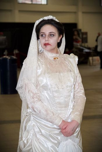 Blood Cosplay Dress Fashion Front View Indoors  Lips London Portrait Real People Red Serious Sherlock Sherlockholmes Standing The Abominable Bride White Young Women
