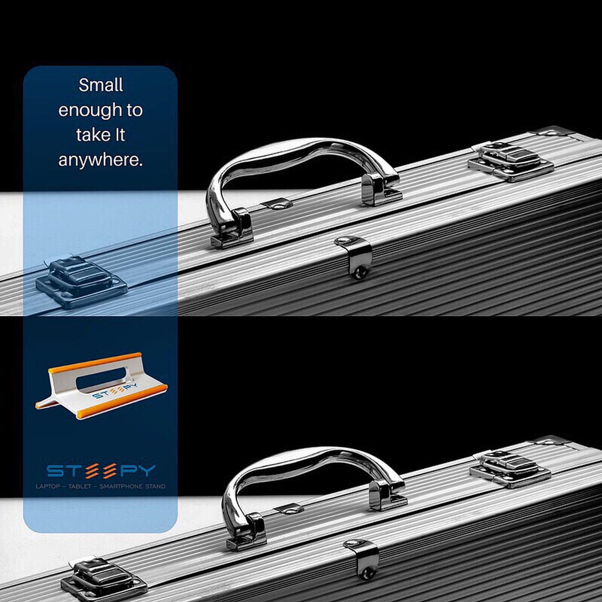 Small enough to take it anywhere. www.steepy.net Work Ergonomic Technology Gadgets Laptop Laptop Work Millenials Working Hard Remotework STEEPY Entrepreneur News Buy