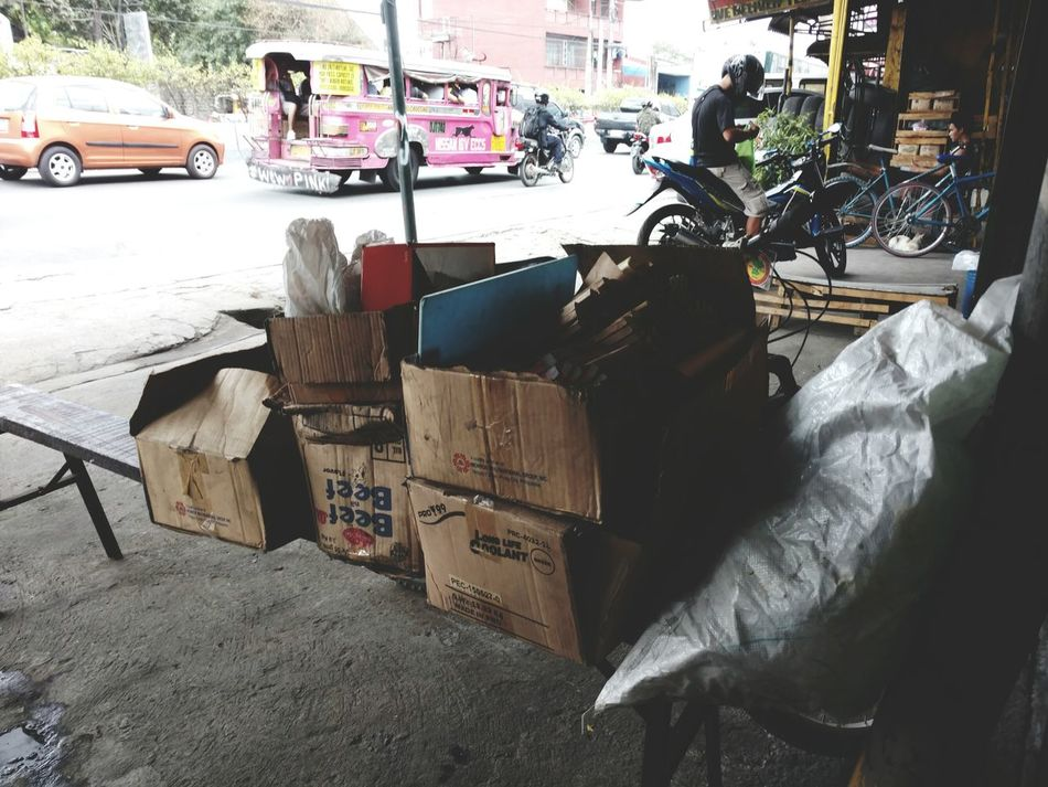Philippines Cainta Boxes Packed Jeepney Streetside