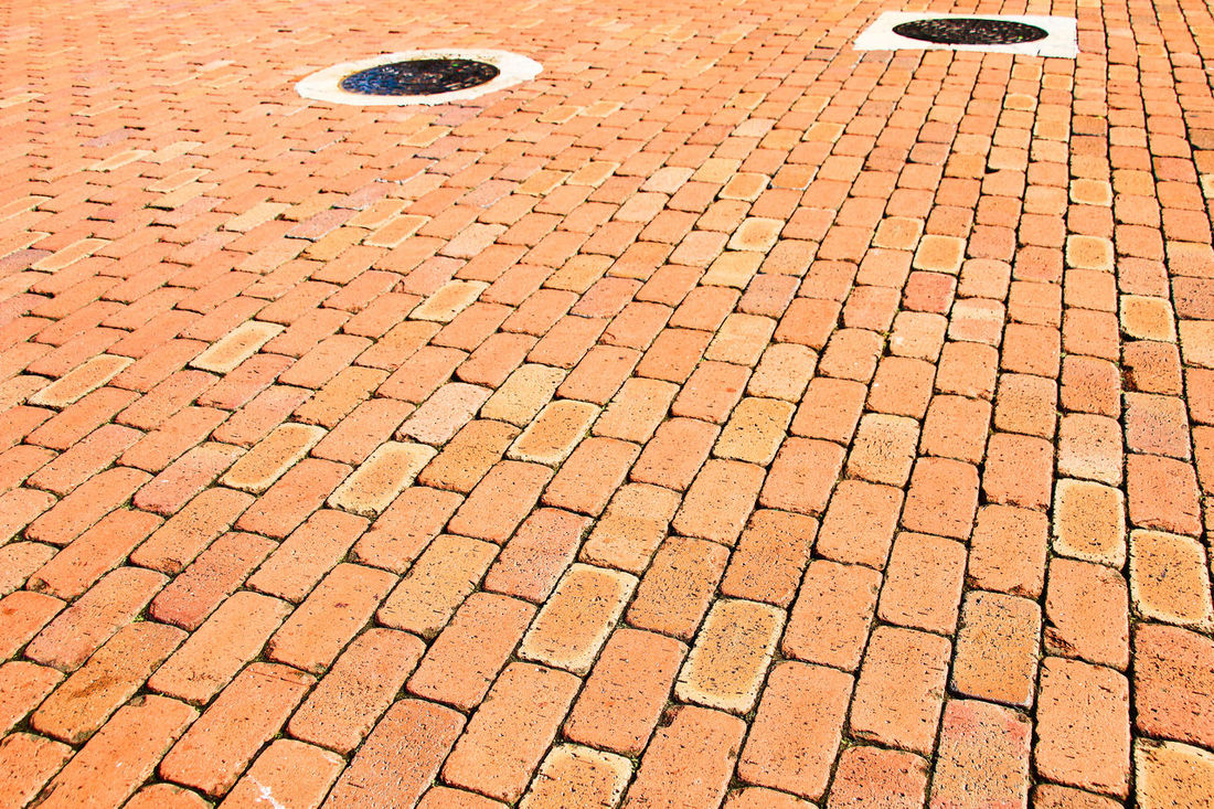 Red brick floor texture background Adapted To The City Backgrounds Brick Canon EOS 7D Mark II No People Old Outdoors Pattern Photostock Red RF SLR Camera Stockphoto Street