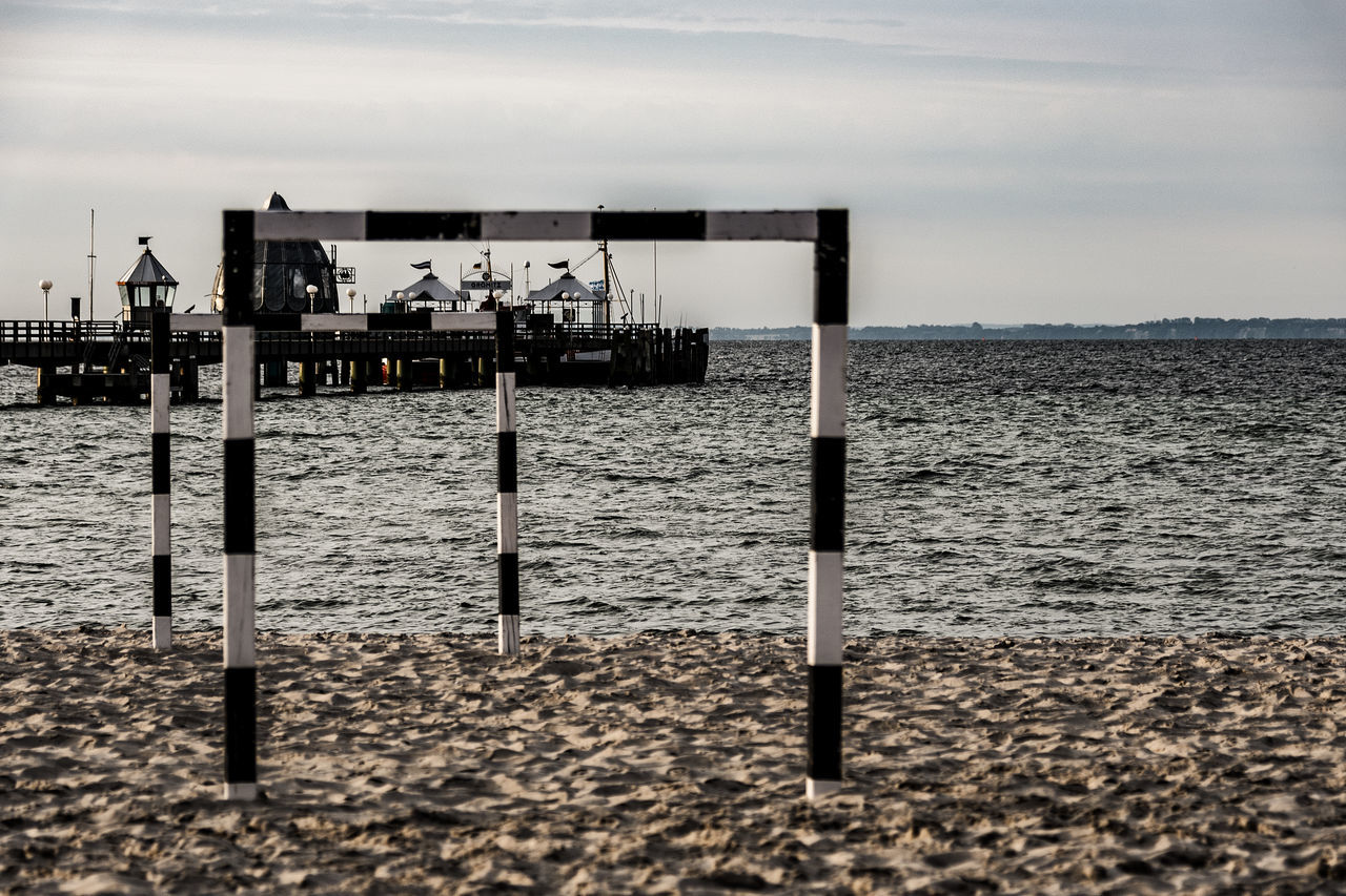 beach Balticsea Beach Beach Volleyball Beauty In Nature Day Goal Post Goals Grömitz Horizon Over Water Nature No People Outdoors Sand Scenics Sea Sky Tranquil Scene Tranquility Water Wooden Post