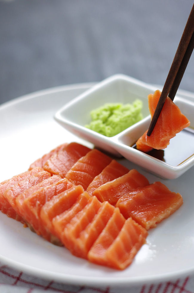 Salmon sashimi with sauce and wasabi Breakfast Chopsticks Close-up Dipp Dipping Dipping Sauce Focus On Foreground Food Freshness Indulgence Meal No People Plate Raw Fish Raw Food Raw Fresh Seafood Ready-to-eat Salmon Salmon Sashimi Seafood Selective Focus Served Serving Size Still Life Wasabi
