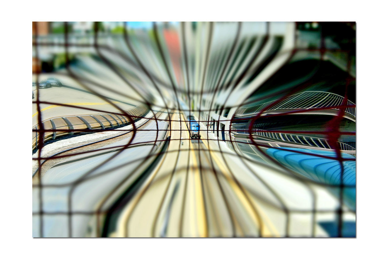 Train Station Catwalk 5 Jack London Square Port Of Oakland, Ca. Union Pacific Railroad Overpass Overpass View Tracks Amtrak Train Railroad Railroad Photography Distorted View Pinched Miniaturized Railroad _collection Trains Pattern Pieces Geometric Patterns