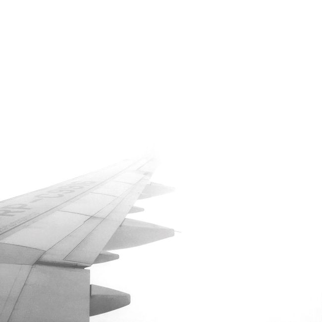 View From The Top Traveling Airplane Air Vehicle Part Of Transportation Flying Cropped Aircraft Wing Mode Of Transport On The Move Copy Space Clear Sky Travel Mid-air Aerial View Sky Journey Day Outdoors Nature The Natural World Bw_collection Black And White