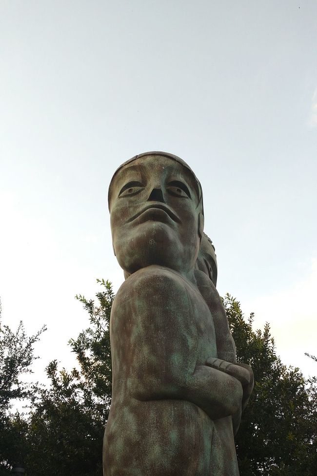 Statue Low Angle View Human Representation Sculpture Clear Sky Outdoors No People Stone Material Monterrey, México Paseo Santa Lucía Taking Photos Mobile Photography Enjoying Life Relaxing