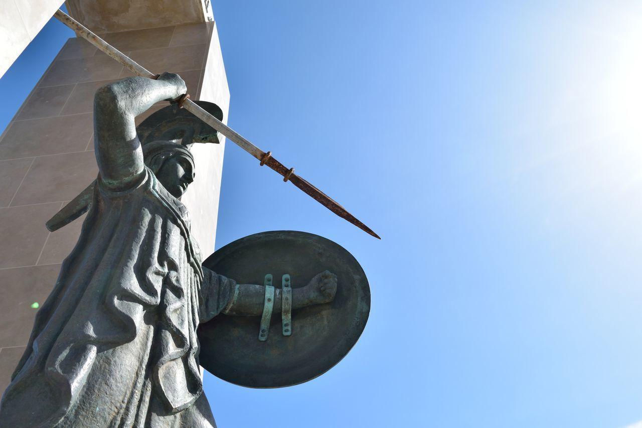 The Warrior Goddess Blue Clear Sky Dea Goddess Minerva Statue Sunlight Warrior