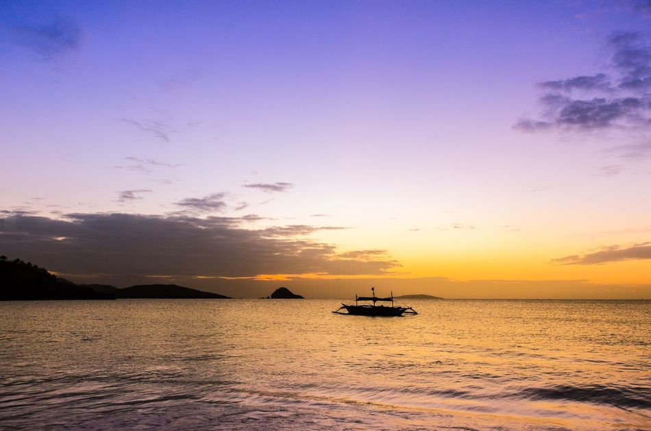 Sunset Water Beauty In Nature Sea Transportation Scenics Nature Tranquil Scene Nautical Vessel Tranquility Sky No People Outdoors Day Philippines Calaguas Island Philippines Calaguas Hope Peace Solitude