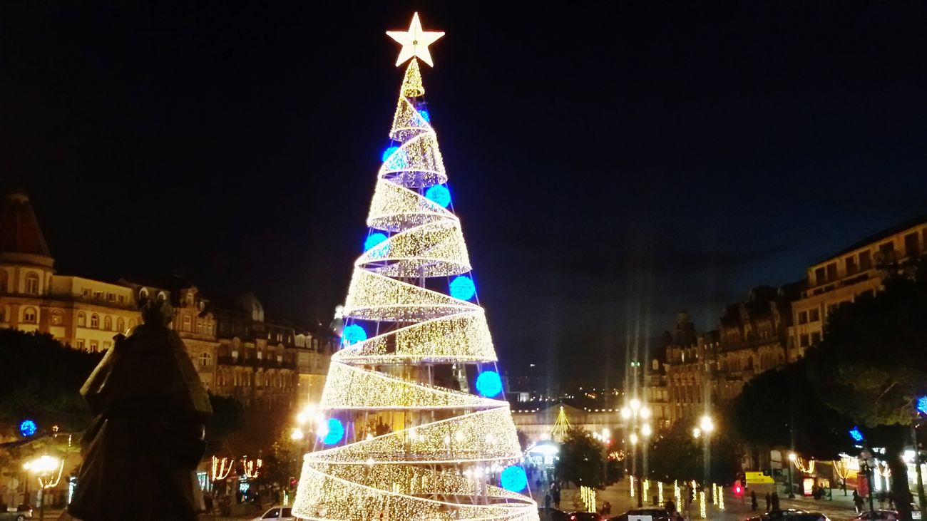 Christmas Tree Natal Christmastime Star Lights Night Citytown Beleza Magic