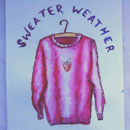 Sweaterweather Drawing Drawmore Sweather autumn fall pink sketchbook sketchchallenge осень рисуем song illustration свитер одежда TheNeighbourhood strawberry art