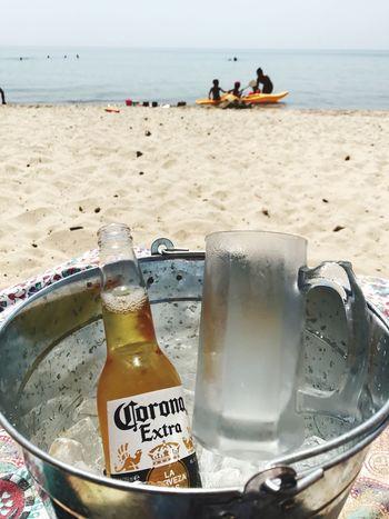 Corona Beer Beach Sand Sea Water Bottle Outdoors