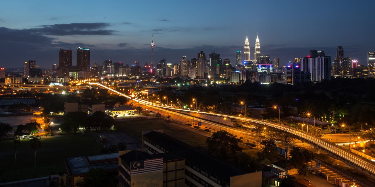Panoramic view of Kuala Lumpur with Petronas Twin Towers at sunset. Architecture Berjaya Times Square Building Exterior Built Structure Cityscape Cityscape Growth Illuminated Klcc Kuala Lumpur Malaysia  Landscape_Collection Malaysia Night Nightphotography No People Outdoors Panoramashot Panoramic View Petronas Twin Towers Photography Skyscraper Towers Travel Destinations Urban Skyline Viewpoint