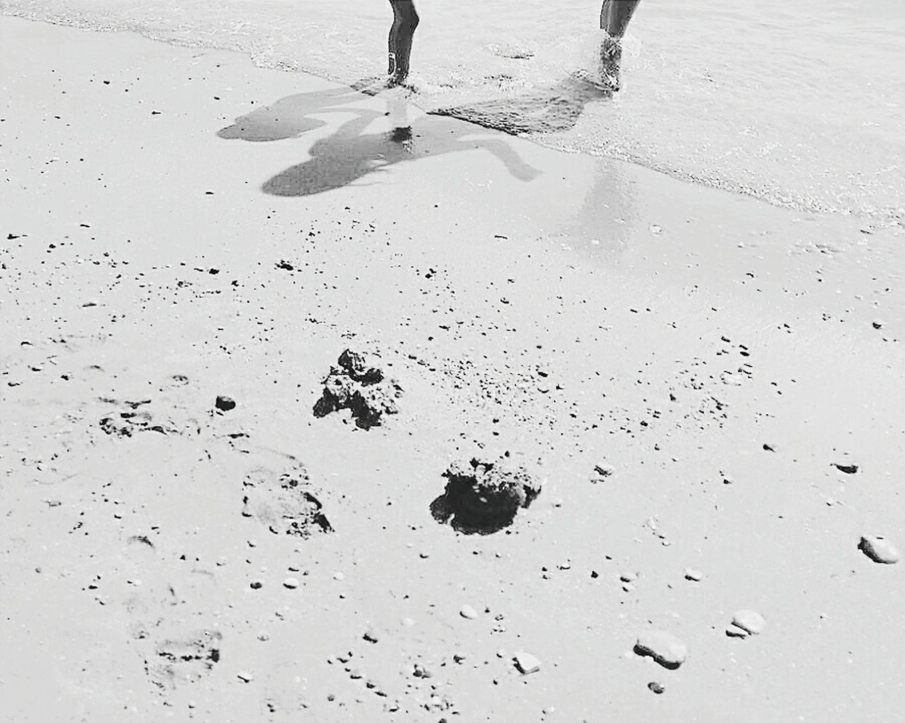 Beach Sand Nature People Blackandwhite Littlesister