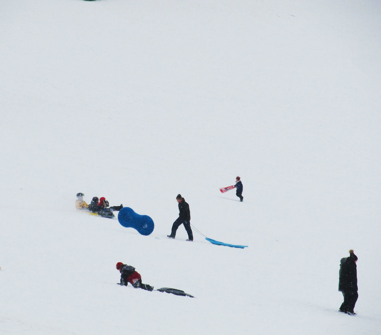 People Tobogganing On Snow Covered Field
