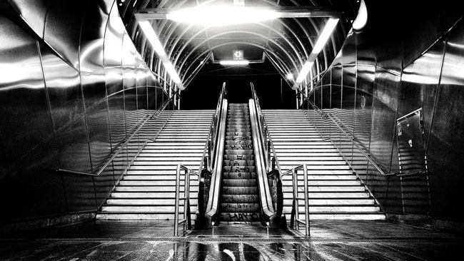 Metro Station Stairs Allviewx2extrrme Nightshot Nighrscene Night Hradčanska Prague Enjoying Life First Eyeem Photo