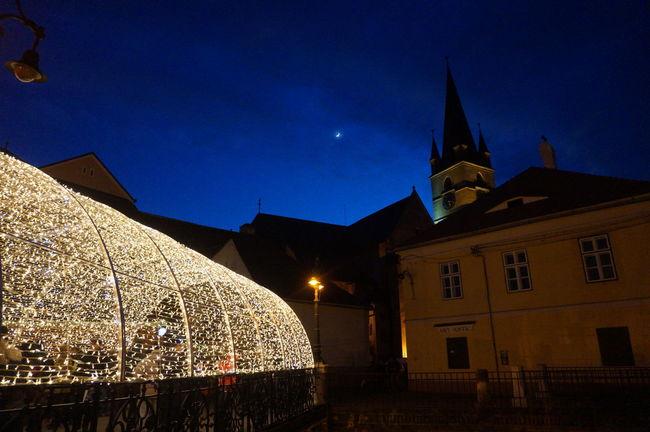 Bridge Christmas Lights Illuminated Lights Moon Night Sibiu, Romania Tower Weihnachtsmarkt