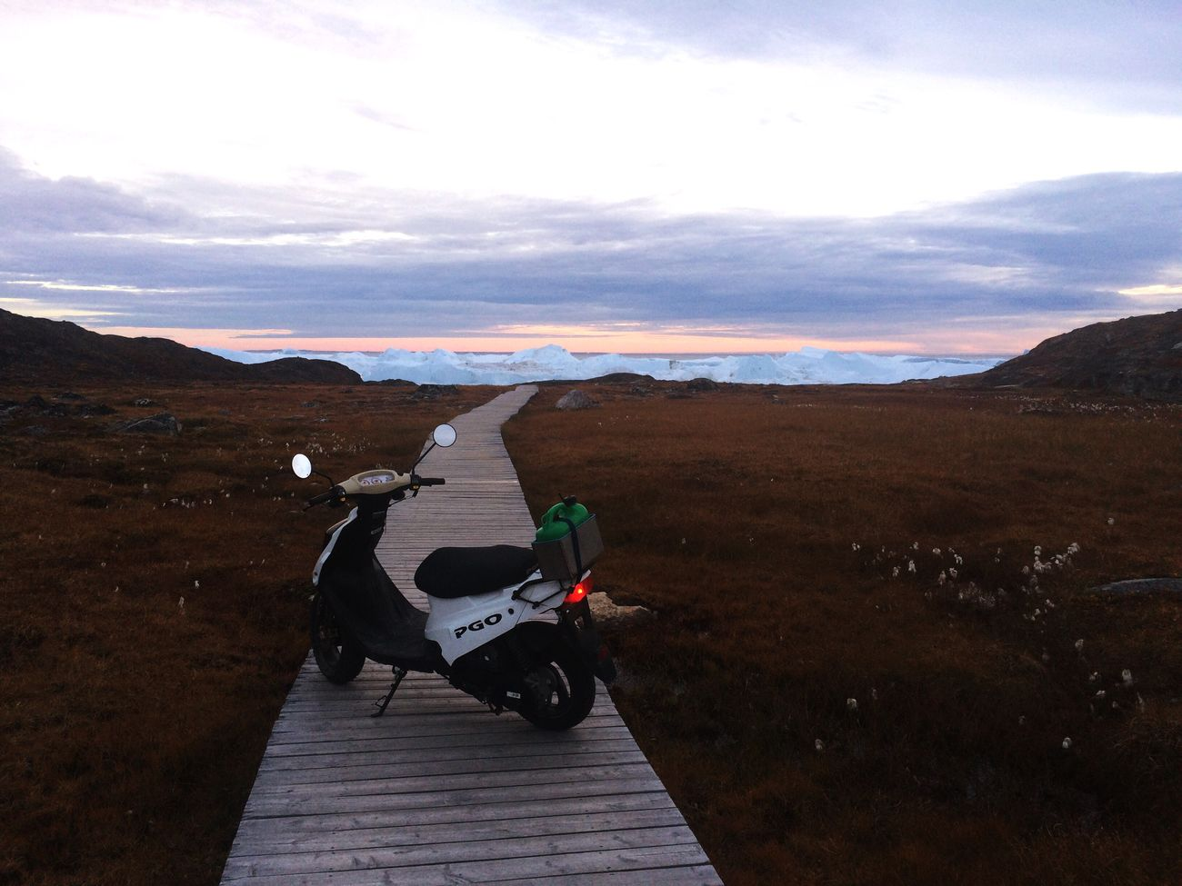 Sermemiut Ilulissat Greenland Mode Of Transport Land Vehicle Mountain Wooden Path Scooter Moped Outdoors Fall Colors Icefjord Iceberg Scenics Beauty In Nature Motorcycle Adventure Transportation