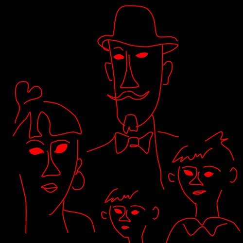 Les Epoux Heureux a 6 Years Later - Imitation of the Modigliani / Sketch Draw and Other Eyeemtags: Red Black Background Drink Tree Neon Night Pencil Drawing Human Lips People