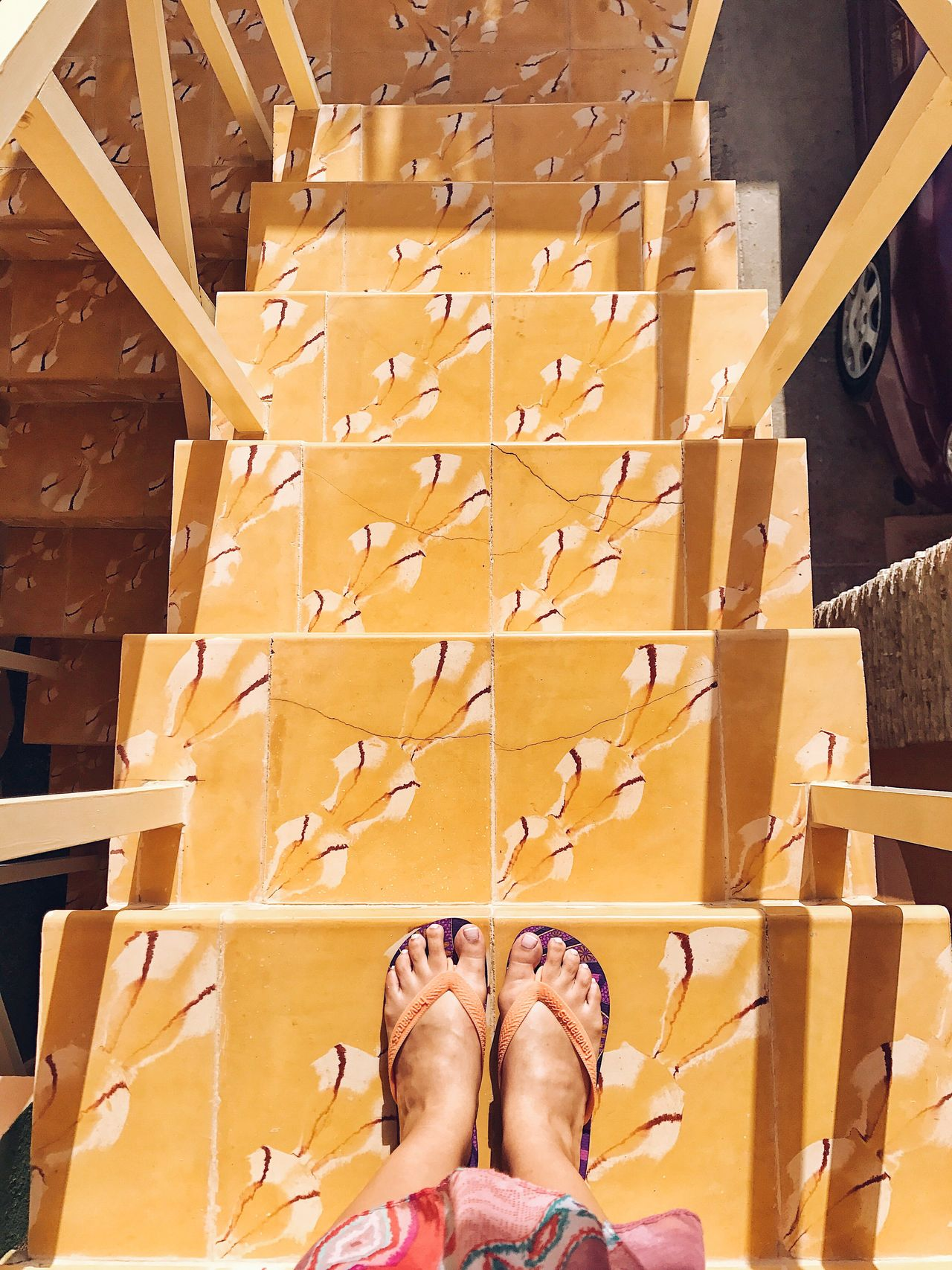 Going down. Low Section Human Leg Human Foot Personal Perspective Human Body Part Real People Women Lifestyles Standing Varadero Cuba Beach Life Warm Weather Flipflops Sandals Beach Wear Happy Feet Stairs Staircase