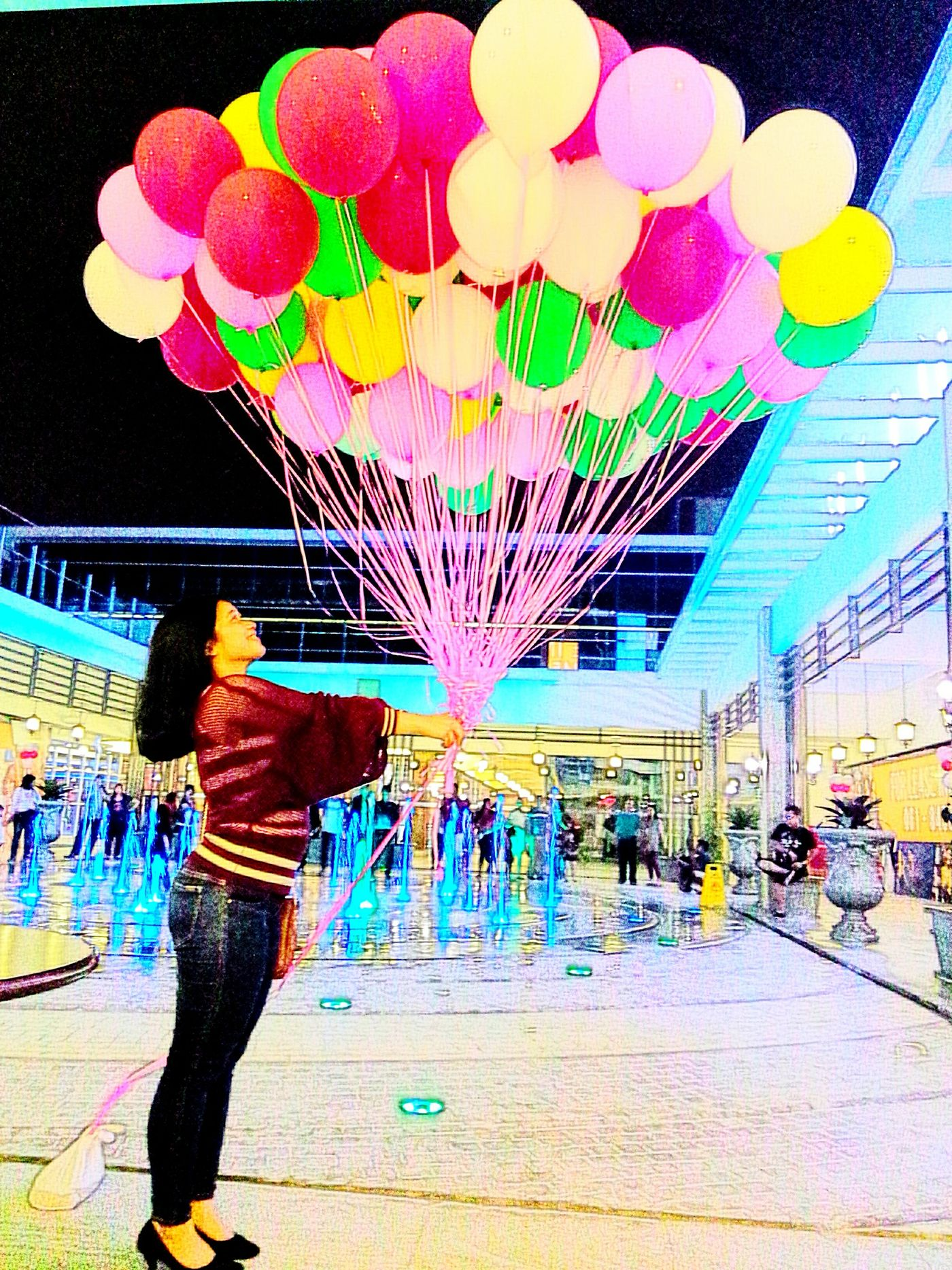 Rooftop Of A Shopping Center Colourful Balloons Colourful Fountains Behind I Love Balloons Anyway Medan North Sumatra - Indonesia