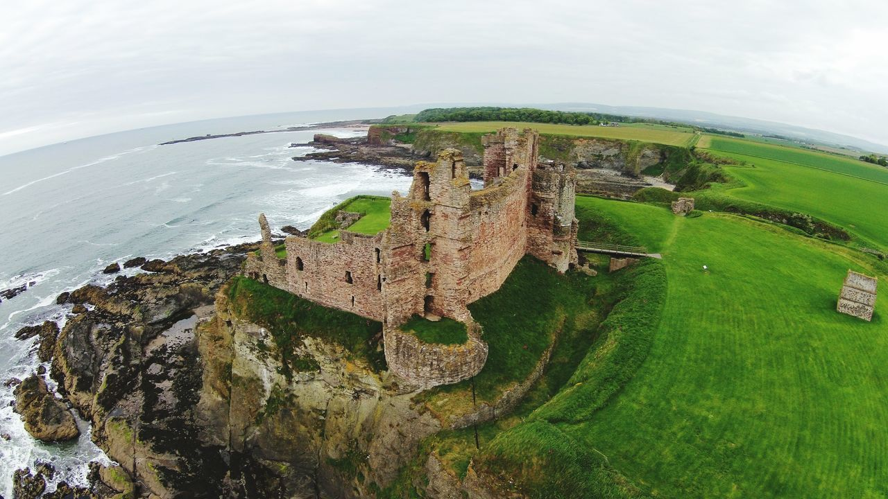 Tantallon Castle Scotland Aerial View Water Outdoors Day Fish-eye Lens Beauty In Nature Scotland. Travelling Photography Castles In Ruin Cliff Cliffside Castle Castle Ruin