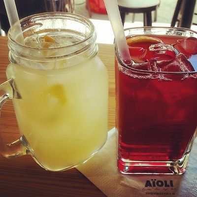 Perfect dinner with my boyfriend 💗 Lemonade Icetea Ice Tea Summer Summertime Diet Drinks Aioli Instapic Instameal Instaphoto Instapicture Happy Fit Abs @aioli_cantine