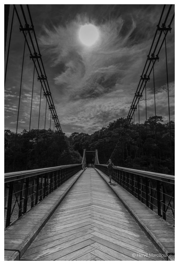Art Artistic ArtWork Black And White Bridge Bridge - Man Made Structure Cable Cloud Cloud - Sky Cloudy Diminishing Perspective Lens Flare Outdoors Sky Sun Sunlight The Way Forward Vanishing Point Walkway Showcase July