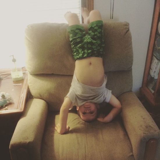 Acrobatics for today! What a goober! This is why we can't have nice things.... Toddler  Boymom Loveyouwithallmyheart Inlove Blessed  Headstand Oldchair