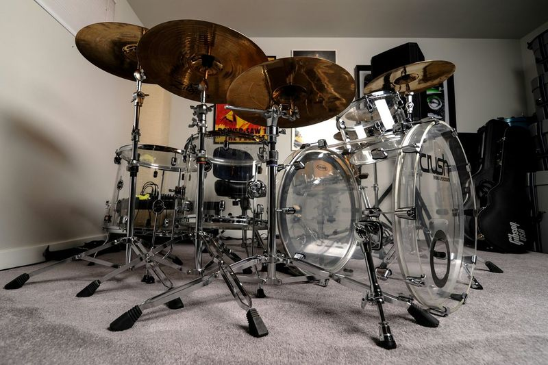 """Got my new kit all pieced together with the extra 18"""" floor tom added on ?? I've been wanting an Acrylic kit forever. Crush Drums Drummer Drums Zildjian Drummersdoitbetter Crush Clear Drumset Drumkit"""