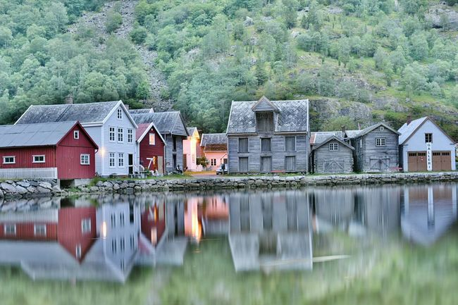 Water Reflection Built Structure Architecture Lake Watermill Waterfront House Residential Building Tranquility No People Building Exterior Floating On Water Nature Tree Horizontal Day Outdoors Tourism Norway Norway ✌ Norwayfjords Laerdal Lærdalsøyri NorwayTourism