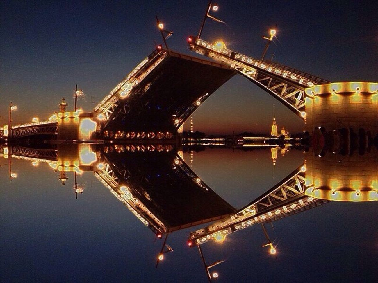 Bridge Stpetersburg Water Reflection Illuminated Architecture Built Structure Waterfront Building Exterior Night Bridge - Man Made Structure Engineering Standing Water Sky Scenics History No People Traveling Vibrant Color Travel Russia