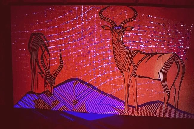 Impala antelopes created with tape and combined with video mapping. Tape Art Streetart Art Getting Inspired