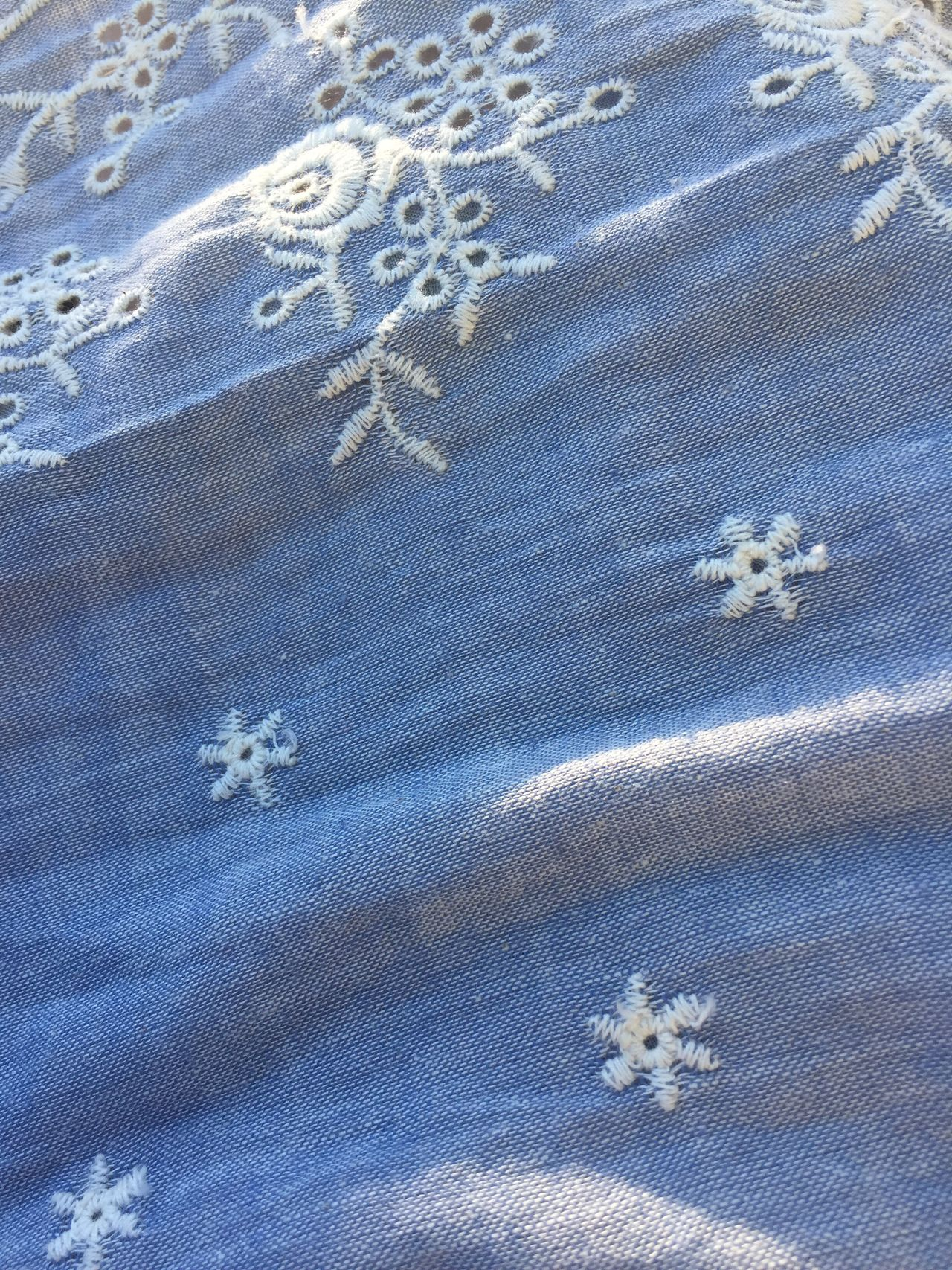 No People Textile High Angle View Fabric Backgrounds Pattern Day Full Frame Blue Close-up Indoors  Snowflake Nature