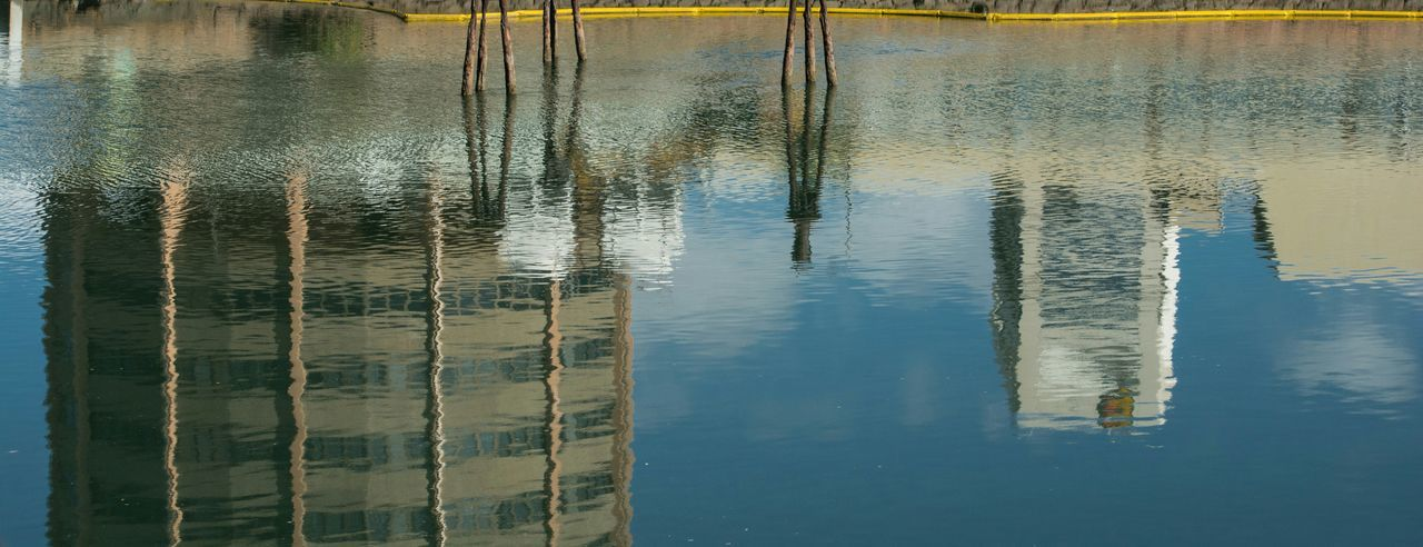 reflection, water, outdoors, no people, nature, waterfront, day, lake, beauty in nature, animal themes