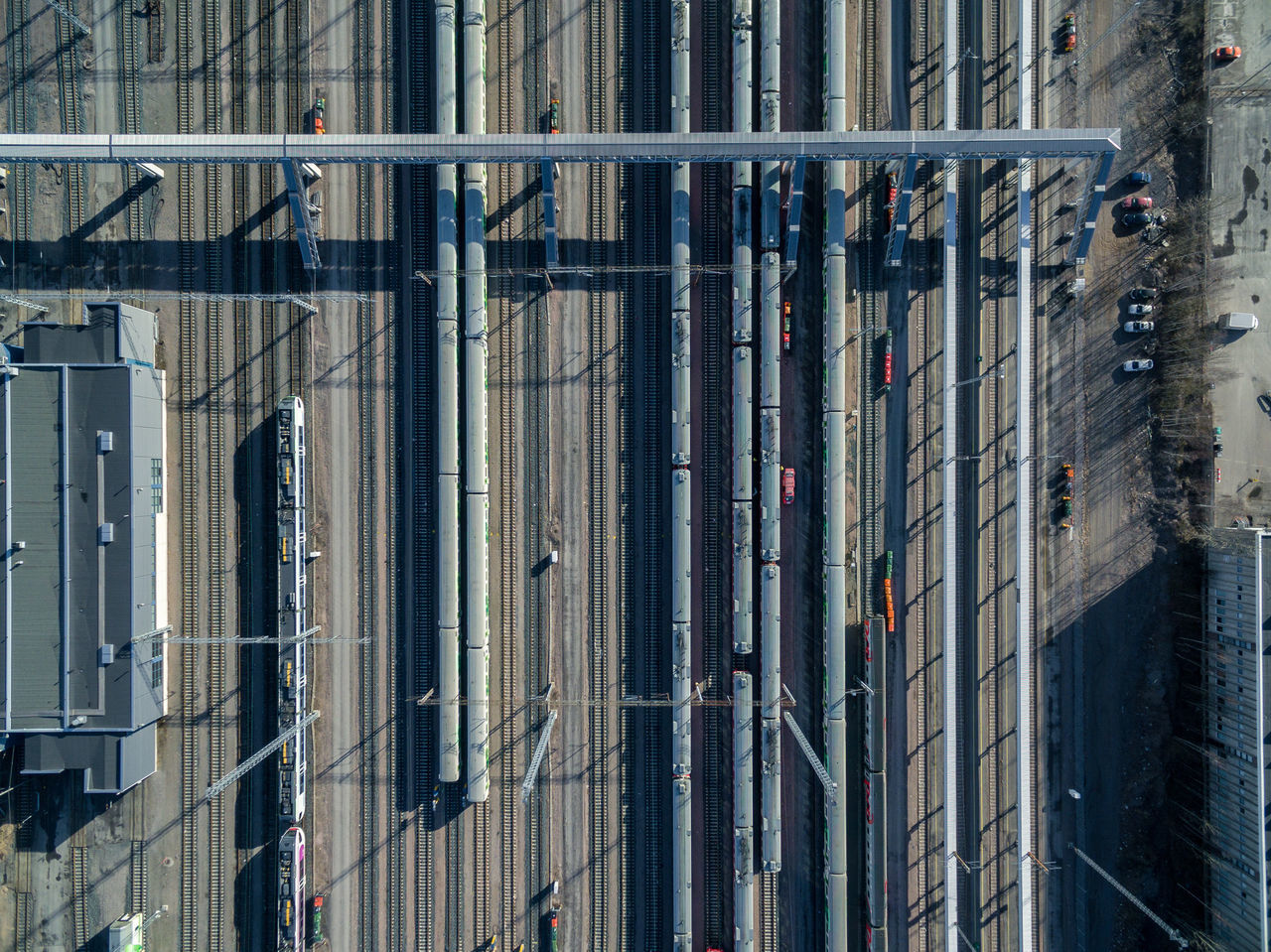 Architecture Building Exterior Built Structure City Day Drone  Finland From Above  Helsinki High Angle View No People Outdoors Top Perspective Tracks Train Transportation
