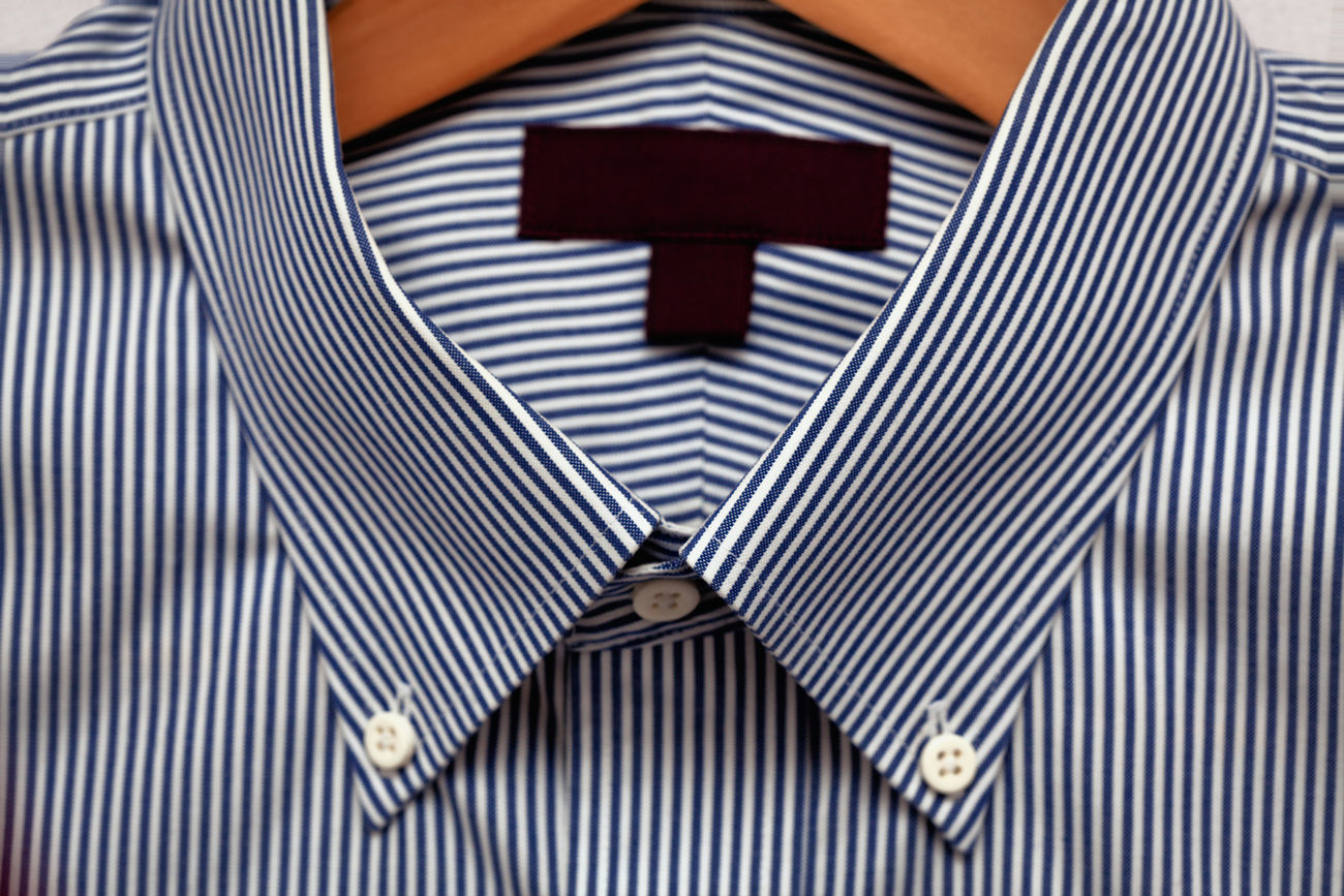Dress Shirt on a Hanger with a Label for Copy Space - close up detail. Background Blank Blank Label Business Businessman Close-up Collar Copy Space Fabric Fashion Hanger Lifestyles Men Mensfashion Menstyle Menswarehouse No People Shirt Smart Look Striped Style Textile Texture Work Working