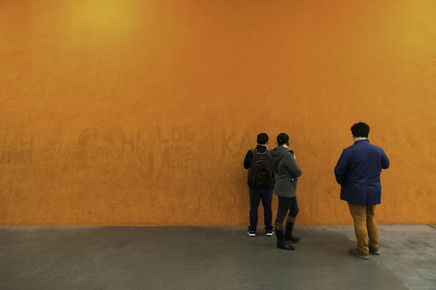 Writings on the wall Abstract Colorful EyeEm Gallery Indoors  Orange Real People Standing Three Togetherness