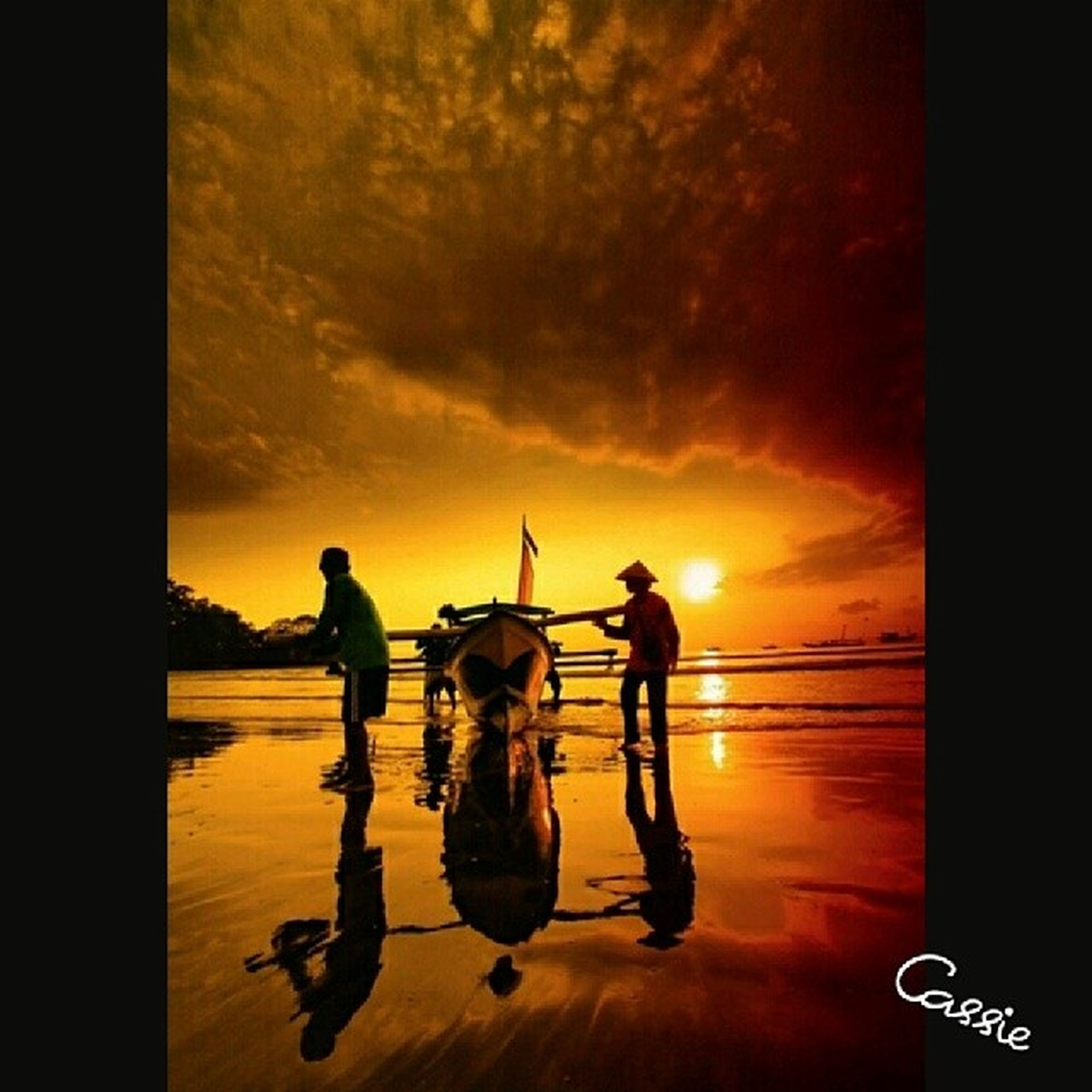 sunset, sky, lifestyles, orange color, men, leisure activity, cloud - sky, full length, silhouette, auto post production filter, togetherness, transfer print, sea, childhood, bonding, standing, love, boys