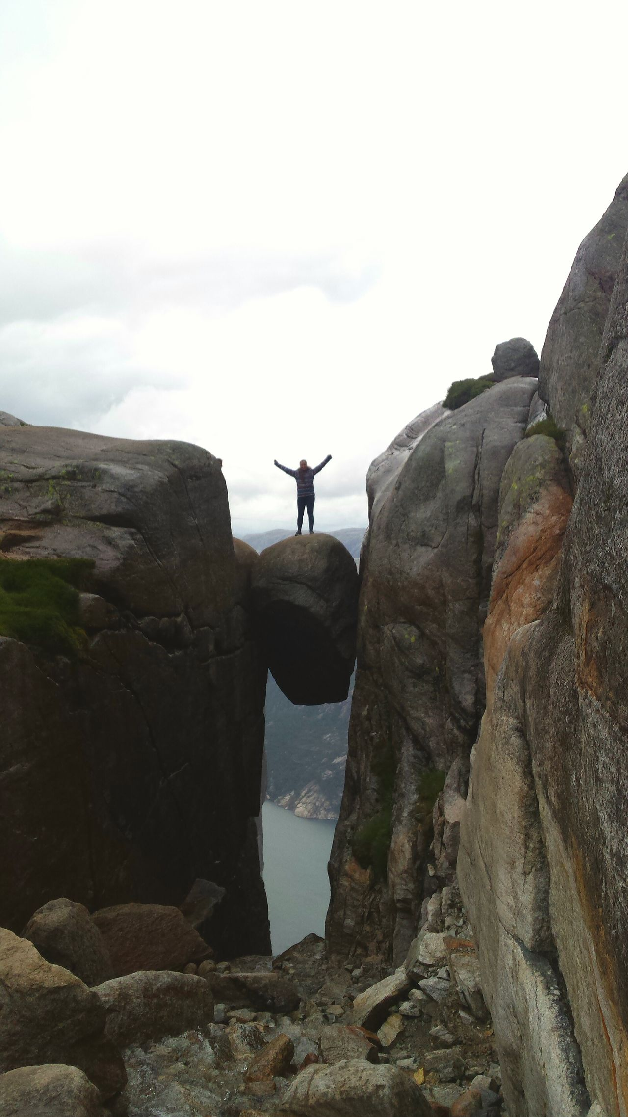 People And Places Vacations Rock - Object Mountain Sky Beauty In Nature Adventure Norway Kjerag Kjeragbolten