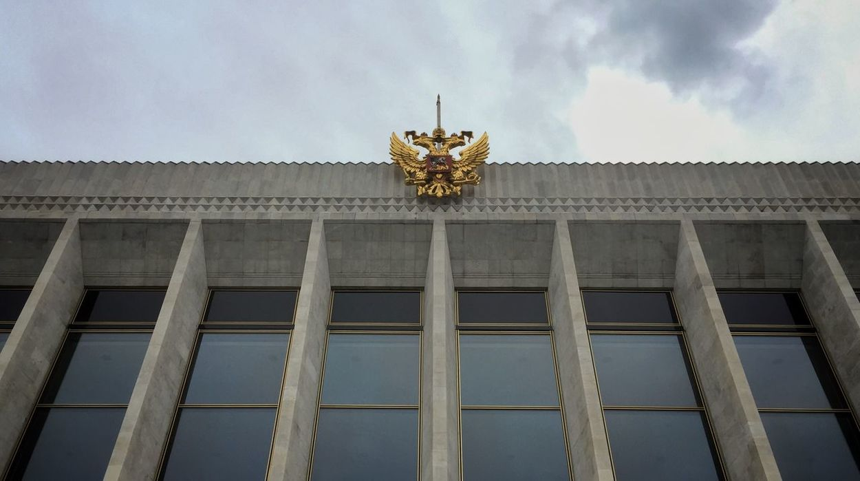 A Russian state emblem at a building inside the Kremlin Rus2015tc Traveling