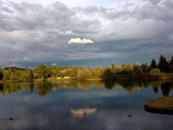 Good Evening Evening Evening Sky Clouds Water Light And Shadow Limmat Limmattal Dietikon