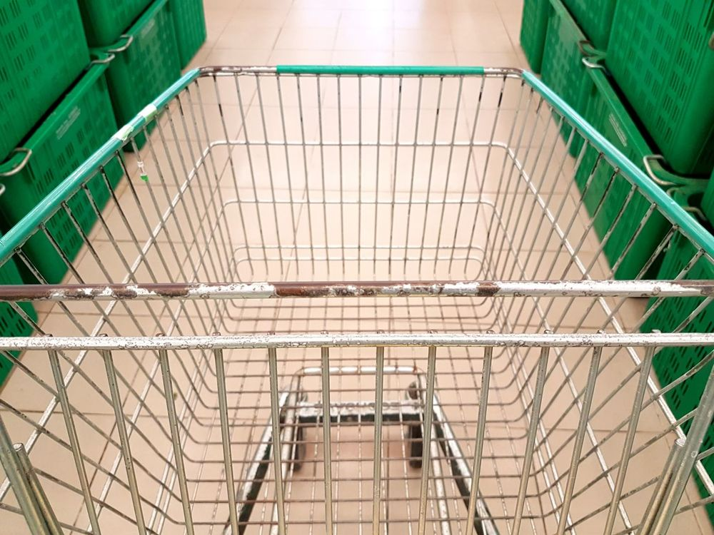 Day Indoors  No People Trolley Cart Shopping ♡ Market Wet Market Empty Close-up Moving Forward  Basket Interior Shopping Mall Supermarket Hypermarket Green Color Floor Mundane Abstract Conceptual Art Economy Analogy Shop