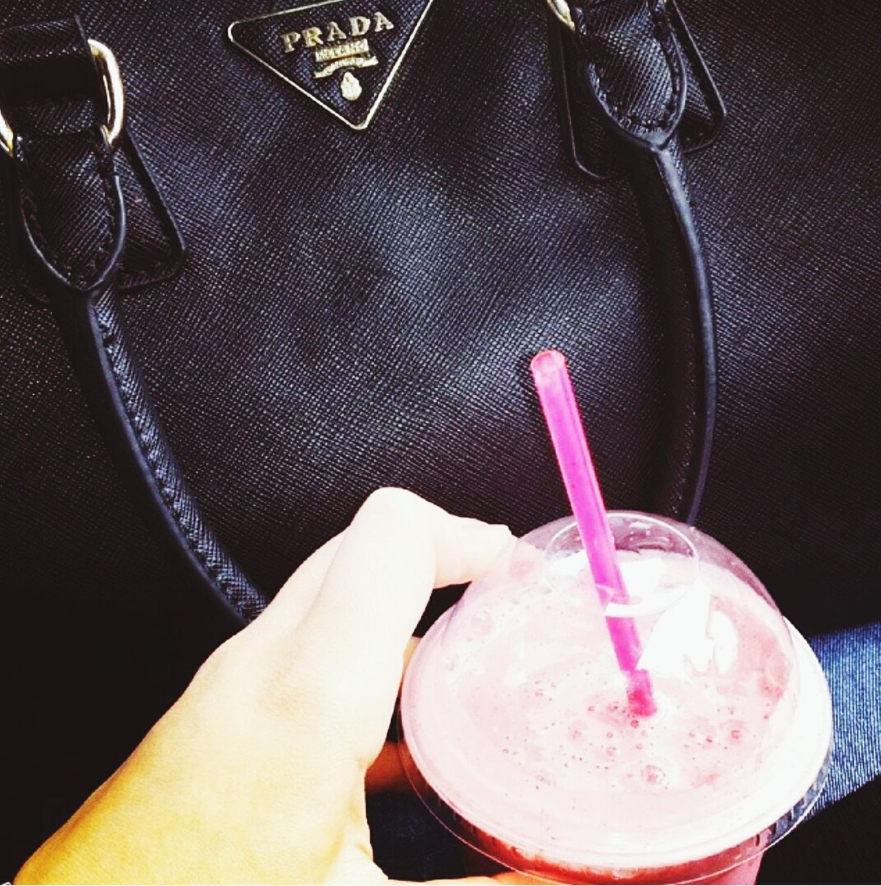 Human Hand Drink Pink Color Drinking Straw Sweet Food Prada Bag