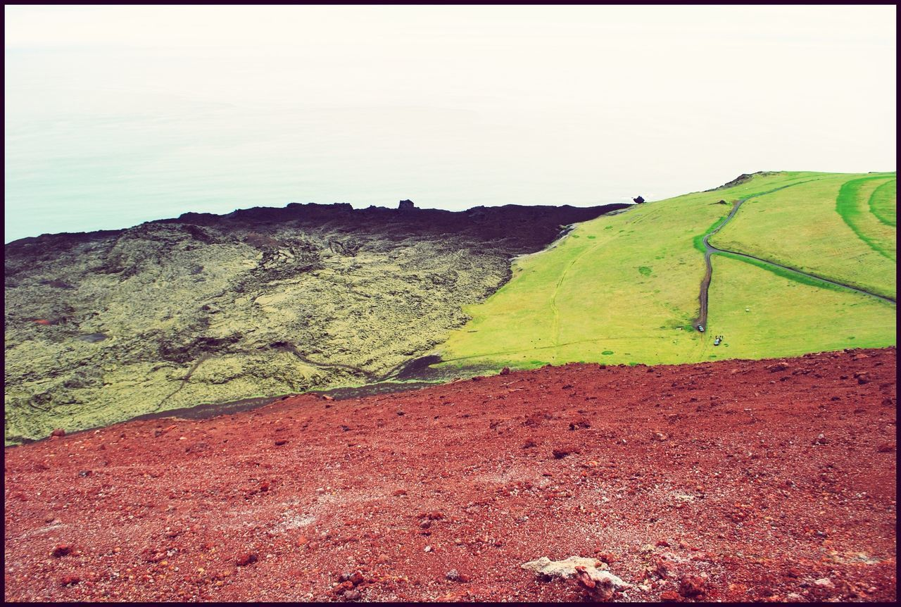 Volcanoes Eldfell Westmanner Islands Island Lava Colours On the left side you can see an old Lavafield getting covered by gras and moss.
