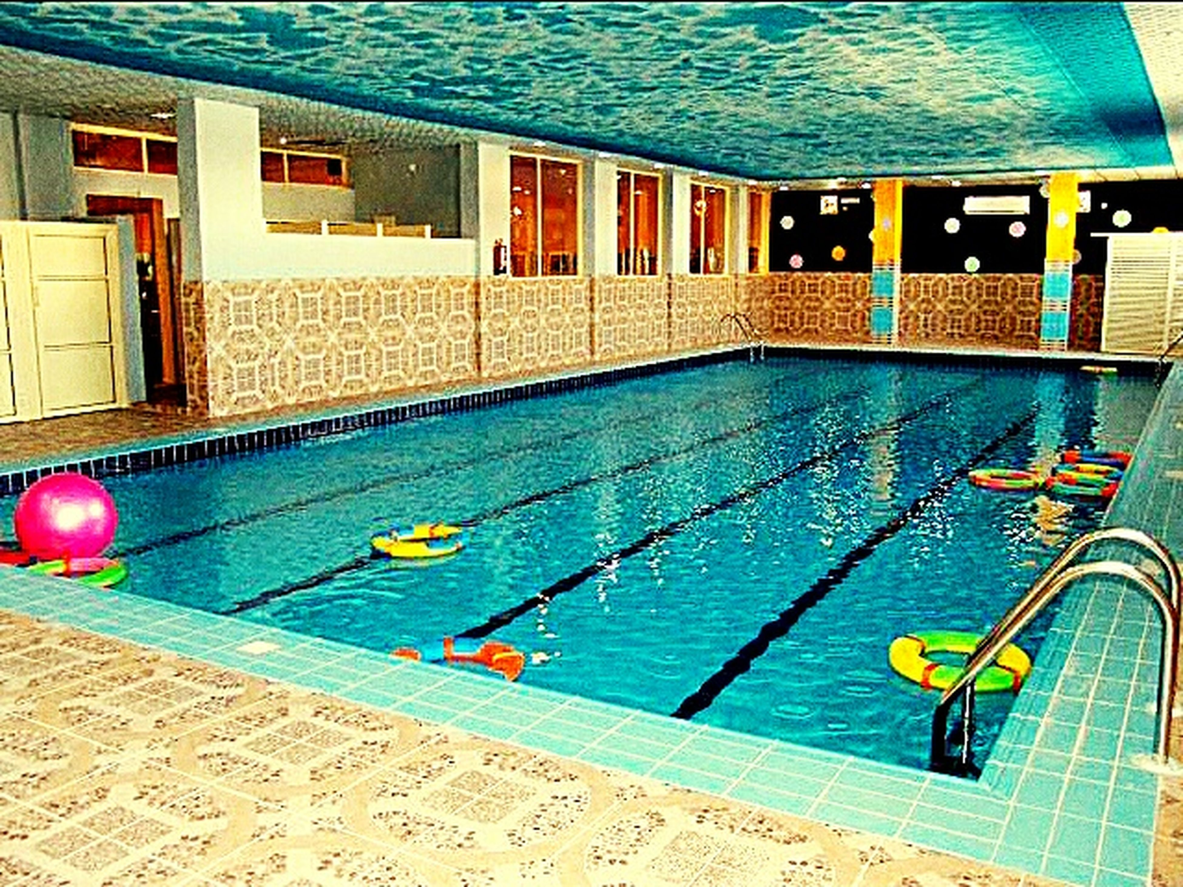 swimming pool, water, blue, no people, swimming lane marker, architecture, day, outdoors