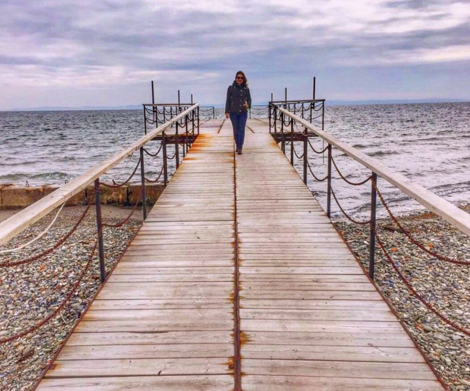 Sea Water Horizon Over Water Rear View Railing Full Length Real People One Person Sky Beauty In Nature Cloud - Sky Nature Outdoors Beach Standing Tranquil Scene Day Scenics Men Women Looking At Camera EyeEm Best Shots EyeEm Best Shots - Nature Eye Em Nature Lover Beautiful Nature