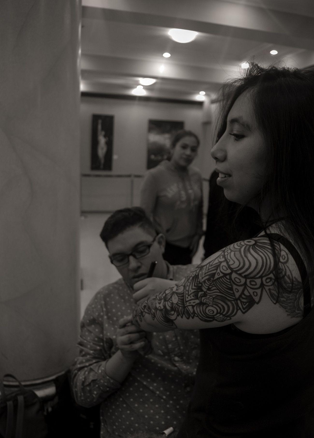 Two People Young Women Beautiful Woman Night People Zentangleart Bw_society BW_photography Illuminated EnVivo Bodyart Tattooartist  Tattoo Design