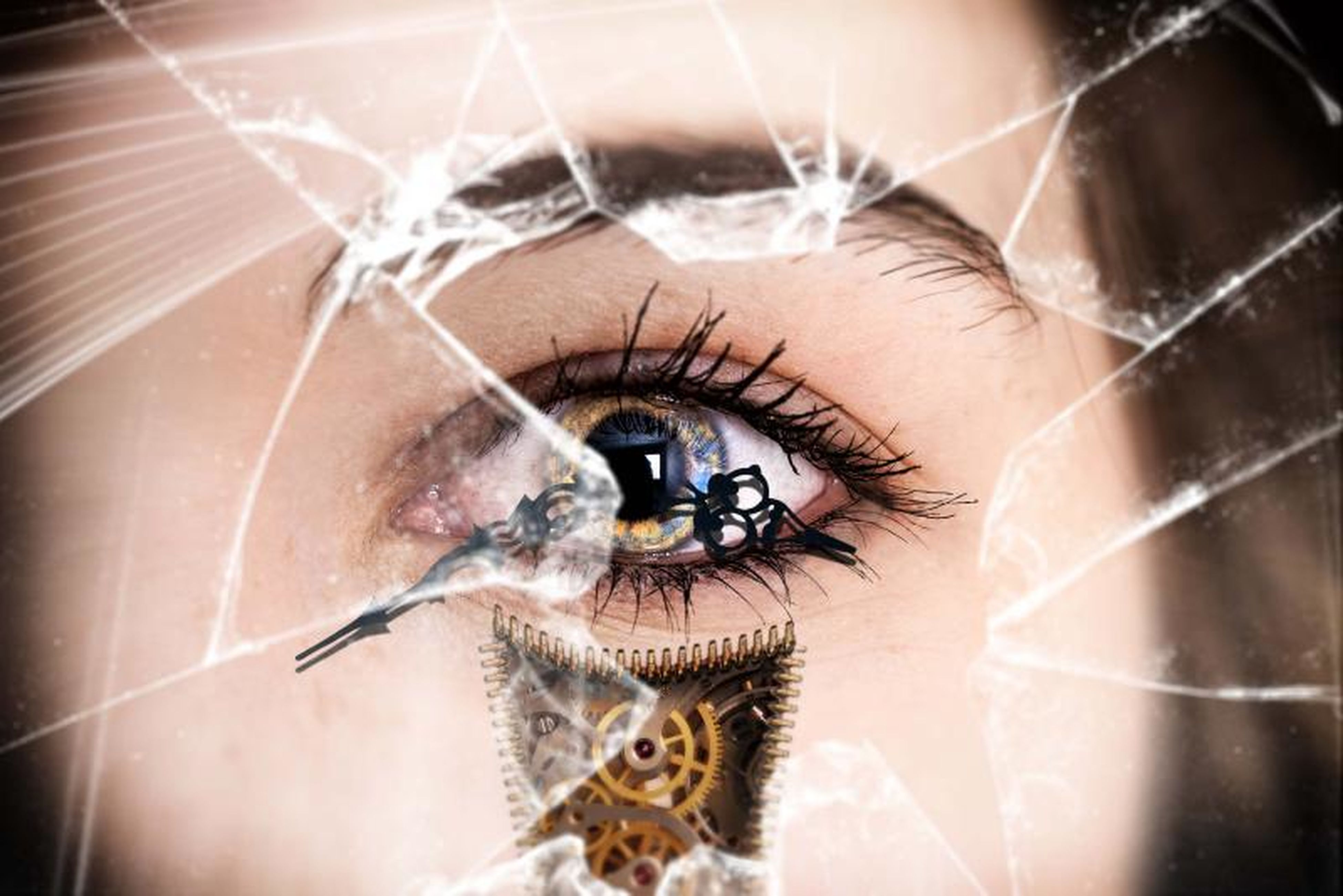 indoors, close-up, part of, unrecognizable person, focus on foreground, selective focus, reflection, person, lifestyles, cropped, human eye, extreme close-up, day, spider web, men