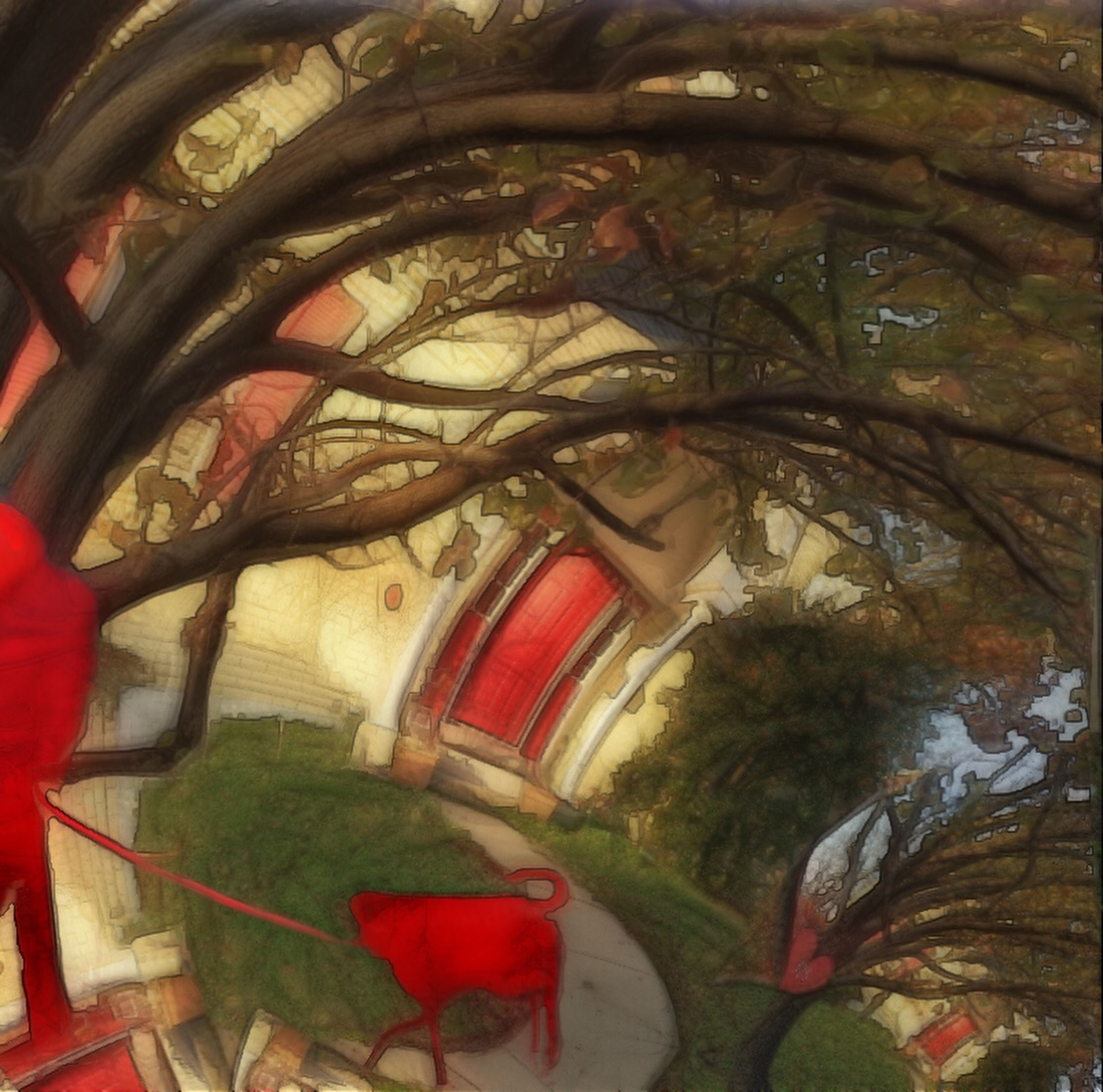 indoors, red, tree, art, day, arch, art and craft, religion, multi colored, no people, spirituality, built structure, low angle view, architecture, creativity, green color, auto post production filter, wall - building feature, pattern