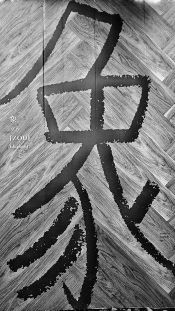 象 Elephant Kanji Calligraphy Character Wall Art Ueno Park Streetphotography Black And White Monochrome Tokyo,Japan Tokyo Street Photography